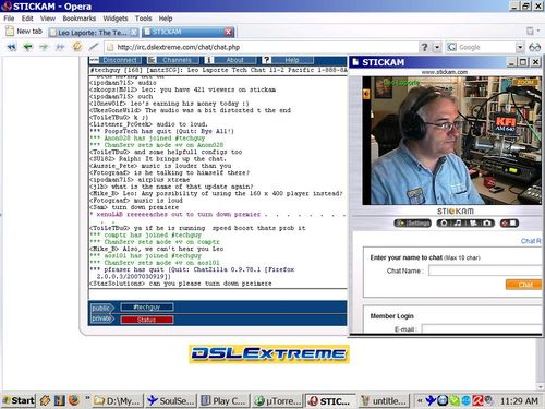 Tech Guy Video from Stickam with Irc java chat