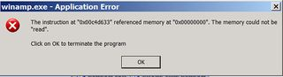 winamp application error